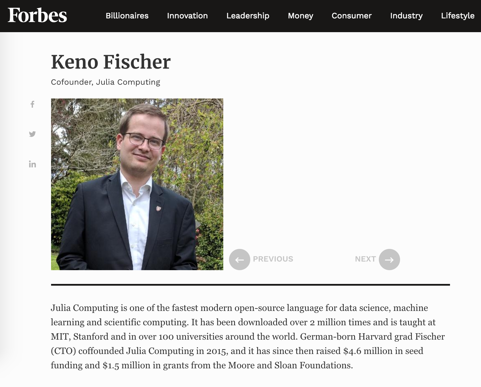 93b5ef263f88c7 Forbes has named Julia Computing co-founder and CTO Keno Fischer to its  prestigious '30 Under 30' list of young leaders in enterprise technology.
